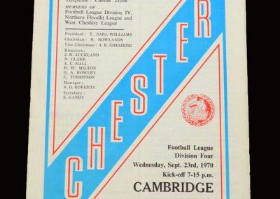 Cambridge v Chester 23.09.1970
