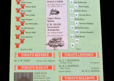 Aldershot v York 23.11.1991