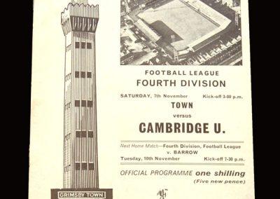 Cambridge v Grimsby 07.11.1970