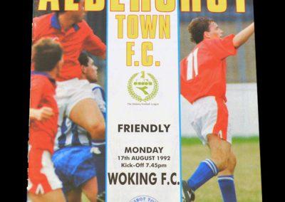 Aldershot Town v Woking 17.08.1992 (Phoenix Club Aldershot Town)