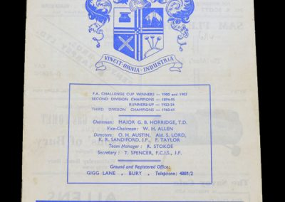 Man City v Bury 28.09.1963