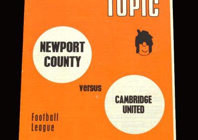 Cambridge v Newport 12.03.1971