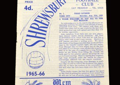 Shrewsbury v York 21.08.1965