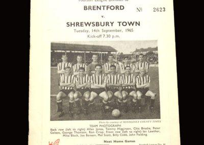 Shrewsbury v Brentford 14.09.1965