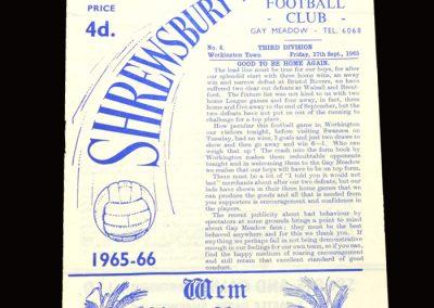 Shrewsbury v Workington 17.09.1965