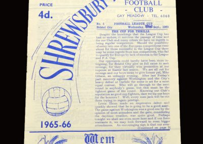 Shrewsbury v Bristol City 22.09.1965 - League Cup 2nd Round