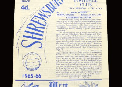 Shrewsbury v Bristol Rovers 01.11.1965