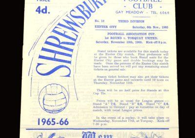 Shrewsbury v Exeter 06.11.1965