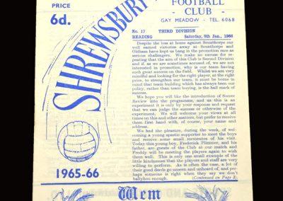 Shrewsbury v Reading 08.01.1966