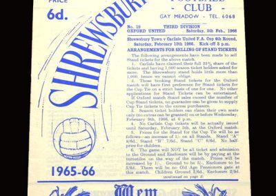 Shrewsbury v Oxford 05.02.1966