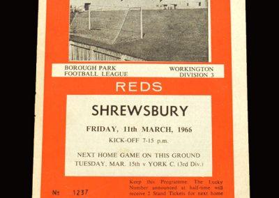 Shrewsbury v Workington 11.03.1966