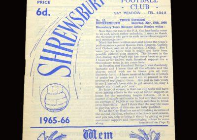 Shrewsbury v Bournemouth & Boscombe 19.03.1966