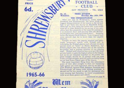Shrewsbury v Walsall 24.03.1966