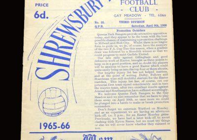 Shrewsbury v QPR 09.04.1966