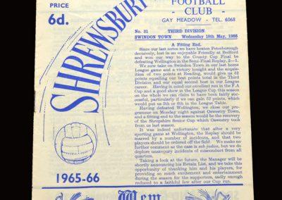 Shrewsbury v Swindon 18.05.1966