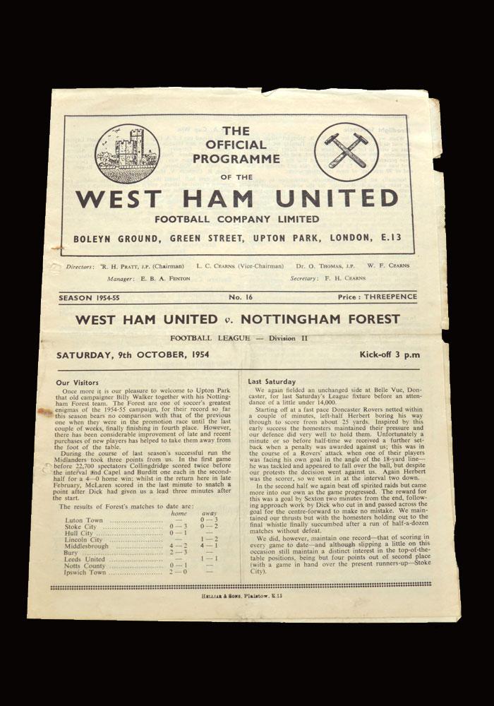 West Ham v Notts Forest 09.10.1954