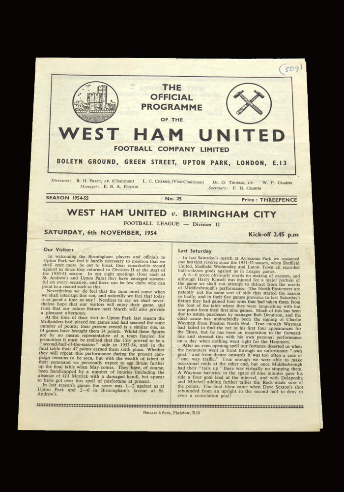 West Ham v Birmingham 06.11.1954