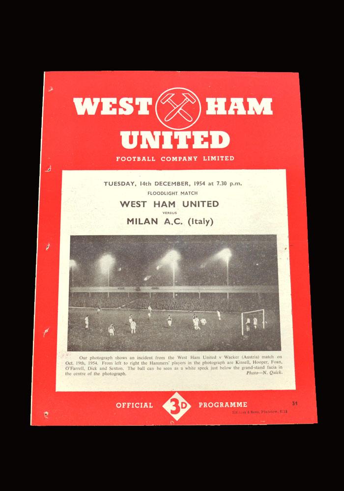 West Ham v AC Milan 14.12.1954 (friendly)