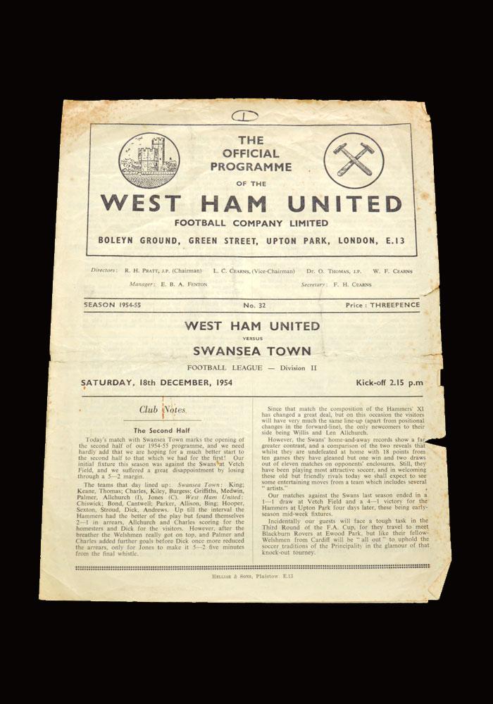 West Ham v Swansea 18.12.1954