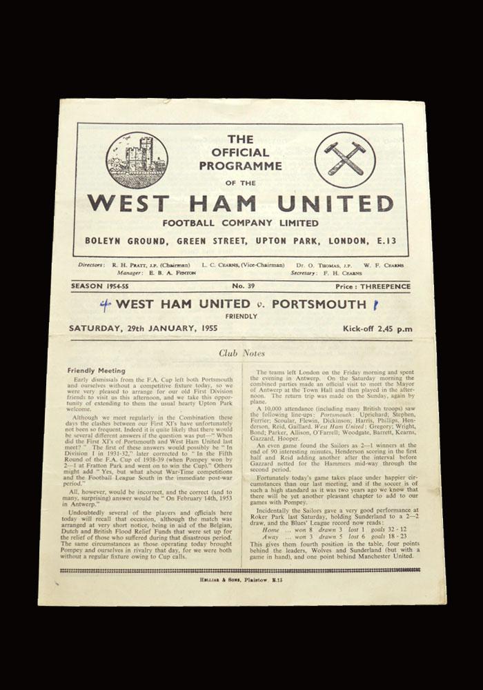 West Ham v Portsmouth 29.01.1955 (friendly)