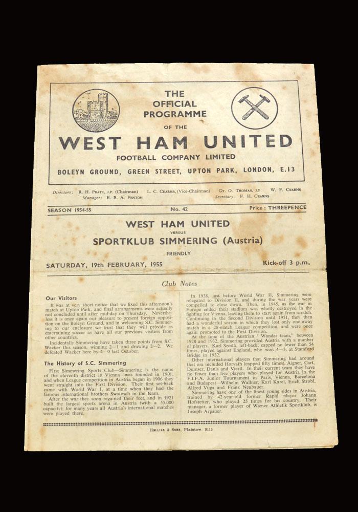 West Ham v Sportklub Simmering 19.02.1955 (friendly)