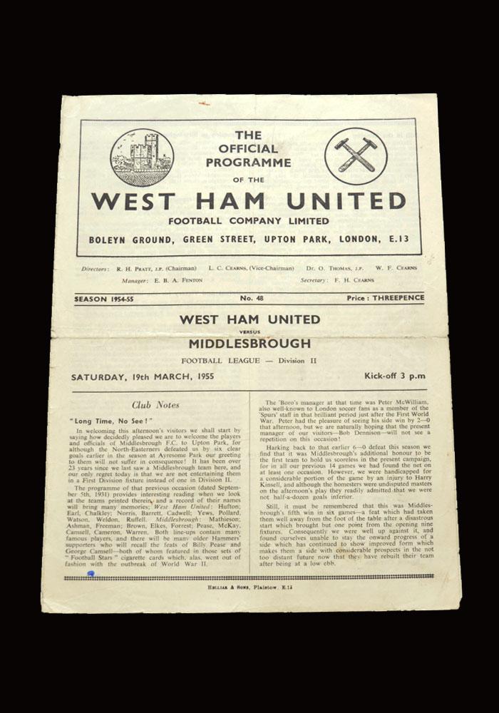 West Ham v Middlesbrough 19.03.1955
