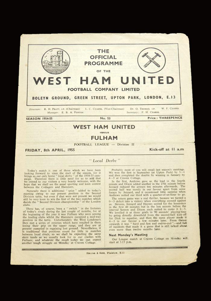 West Ham v Fulham 08.04.1955