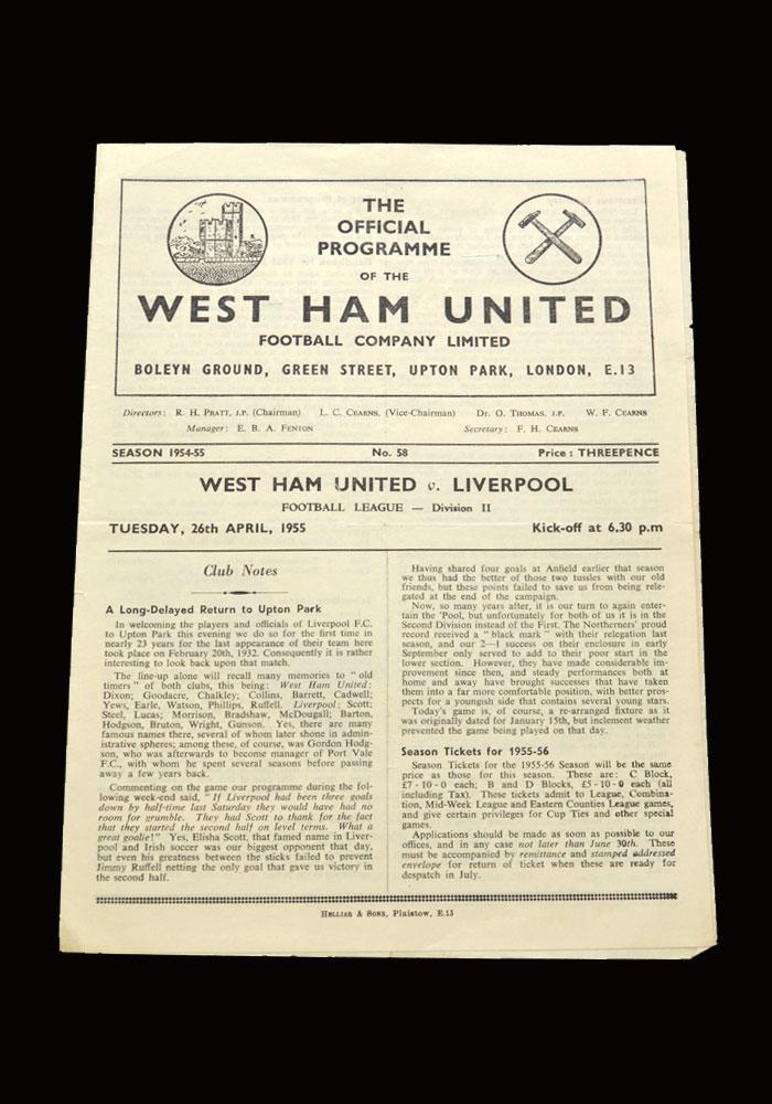 West Ham v Liverpool 26.04.1955