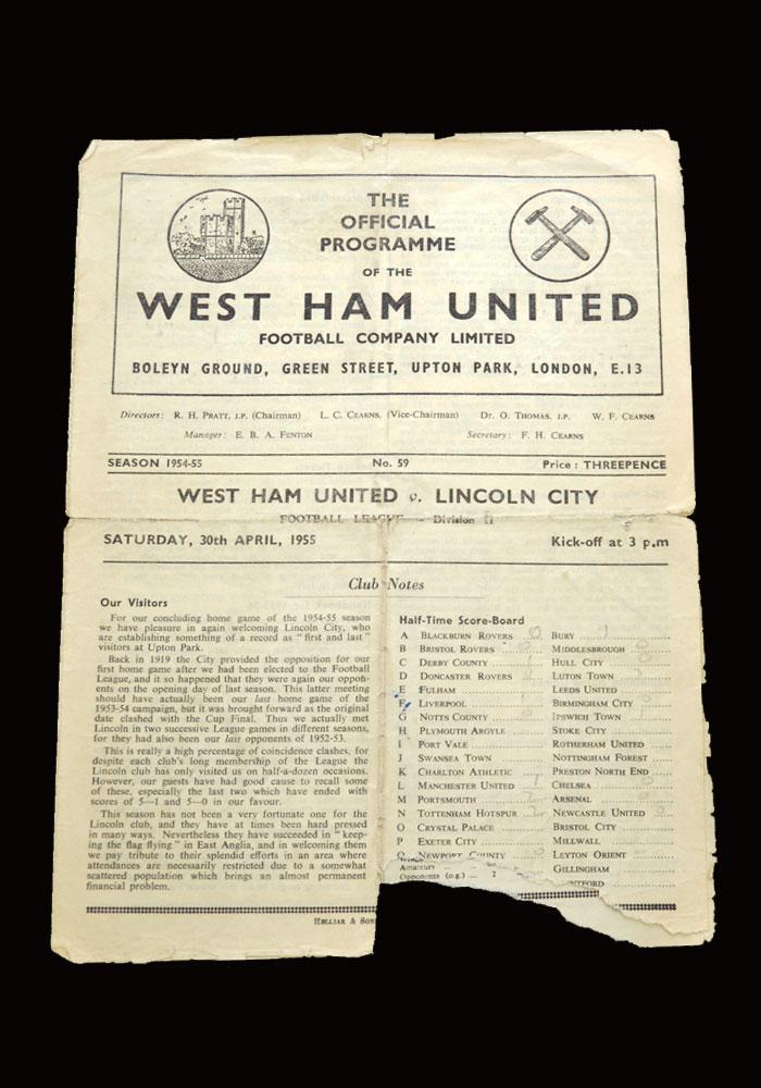 West Ham v Lincoln 30.04.1955