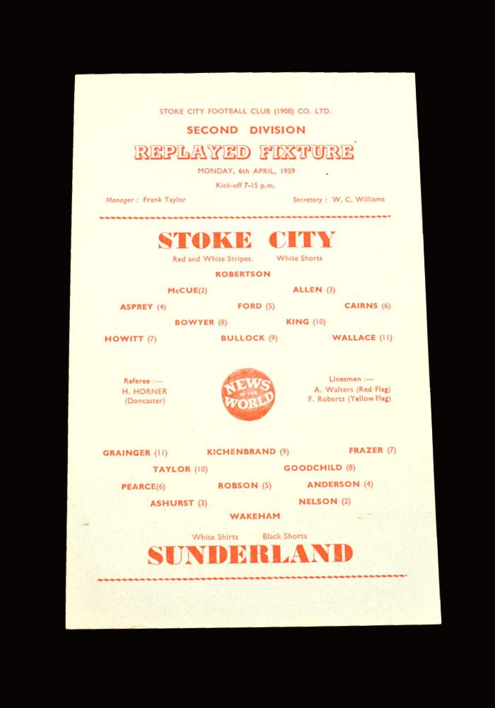 Sunderland v Stoke 06.04.1959