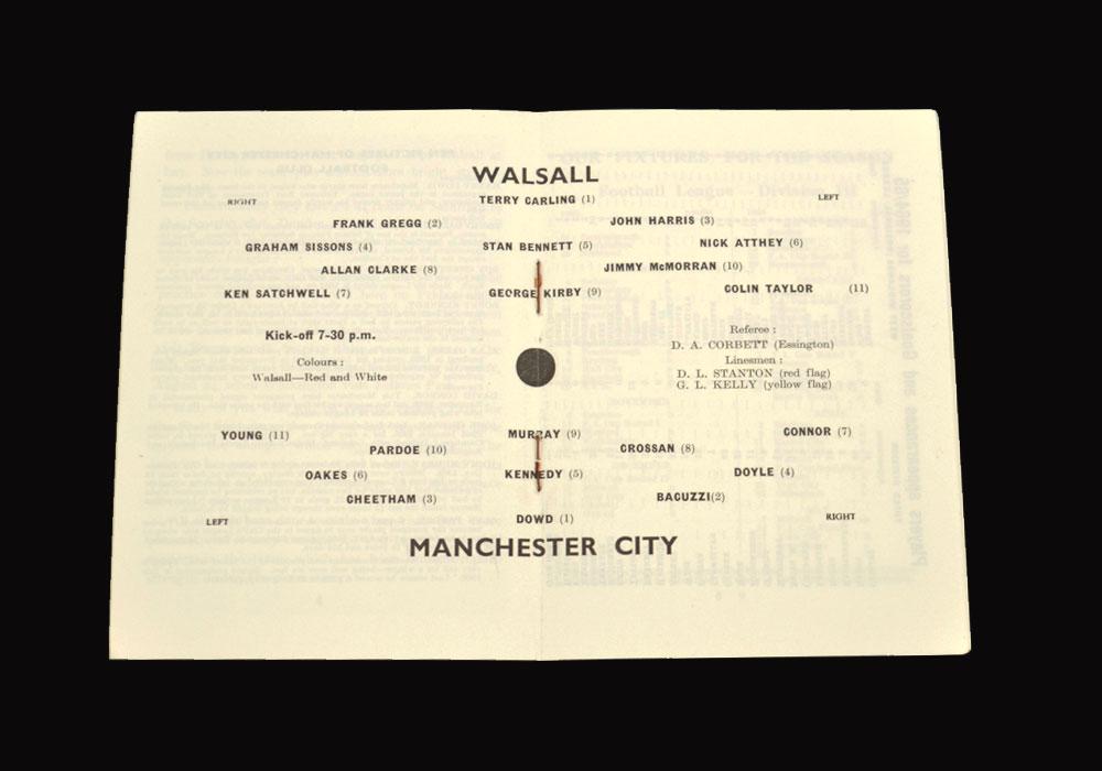 Man City v Walsall 18.08.1965 (friendly)