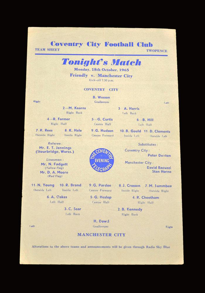 Man City v Coventry 18.10.1965 (friendly)