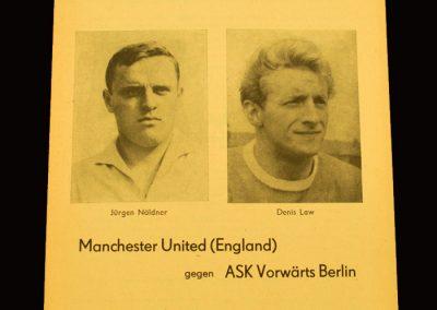 Man Utd v ASK Vorwarts Berlin 17.11.1965 - European Cup 2nd Round 1st Leg