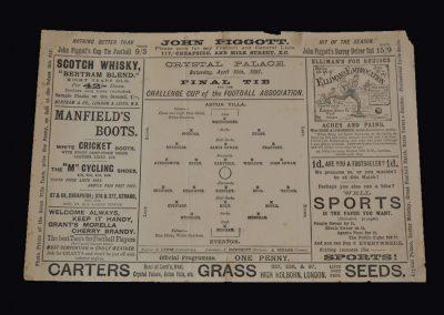Aston Villa v Everton 10.04.1897 (English Cup Final) Villa do the double.