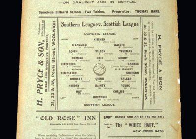 Southern League v Scottish League 24.10.1910