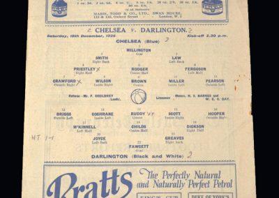 Chelsea v Darlington 18.12.1926