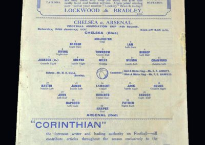 Chelsea v Arsenal 24.01.1931 - FA Cup 4th Round