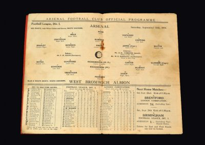 Arsenal v West Brom 15.09.1934
