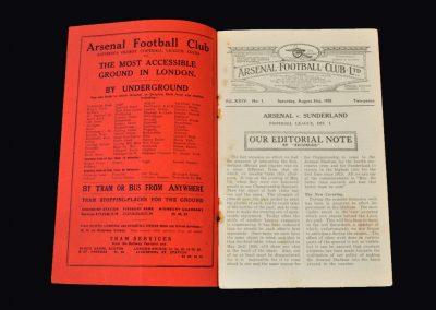 Arsenal v Sunderland 31.08.1935