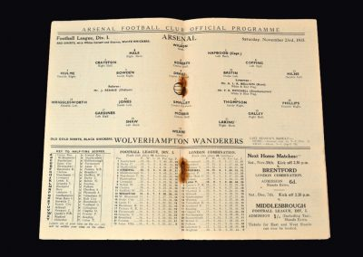 Arsenal v Wolves 23.11.1935
