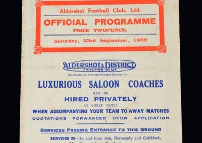 Aldershot v Chelsea 23.09.1939