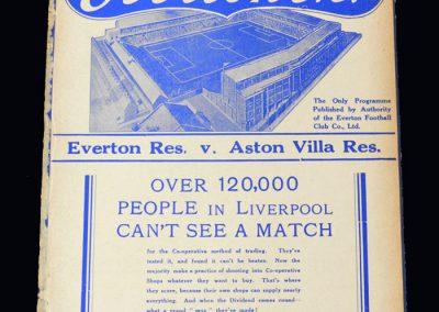 Everton Reserves v Aston Villa Reserves 15.09.1937