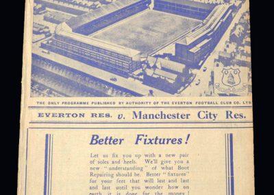 Everton Reserves v Man City Reserves 27.12.1938