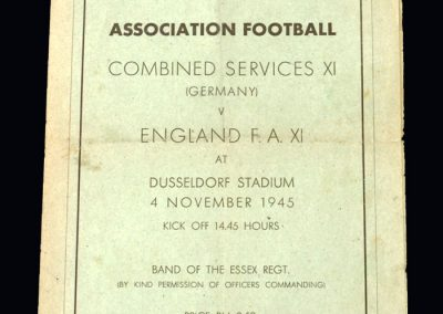 Combined Services v England FA 11 04.11.1945 in Dusseldorf