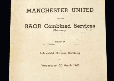 Man Utd v BOAR Combined Services 20.03.1946
