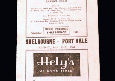 Port Vale v Shelbourne 14.05.1954