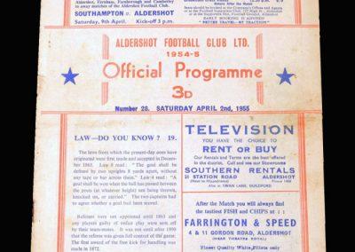 Aldershot v Coventry 02.04.1955 (1-1)