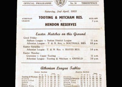 Tooting & Mitcham Reserves v Hendon Reserves 02.04.1955