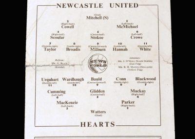 Newcastle v Hearts 13.10.1954 (friendly)
