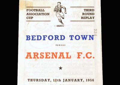 Bedford v Arsenal 12.01.1956 - FA Cup 3rd Round Replay